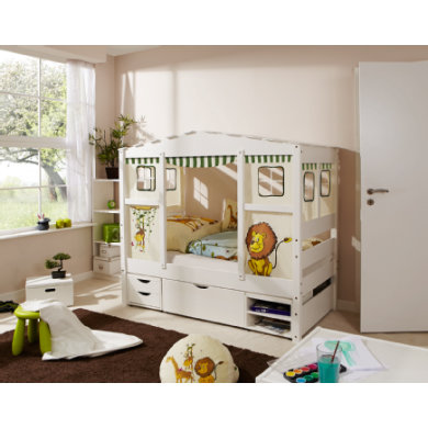 Kinderbetten - TiCAA Hausbett Mini mit 3 Schubladen Safari  - Onlineshop Babymarkt