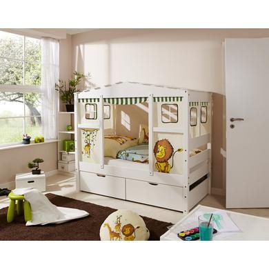 Kinderbetten - TiCAA Hausbett Mini mit 2 Schubladen Safari  - Onlineshop Babymarkt