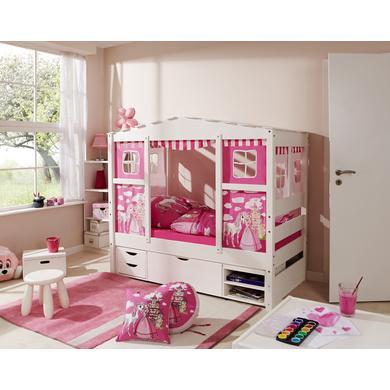 Kinderbetten - TiCAA Hausbett Mini mit 3 Schubladen Prinzessin Rosa  - Onlineshop Babymarkt