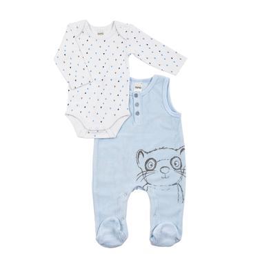 Babystrampler - DIMO–TEX Strampler–Set Eichhörnchen Dreiecke blau – Gr.62 68 – Jungen - Onlineshop Babymarkt