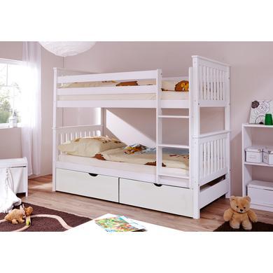 Kinderbetten - TiCAA Etagenbett Sammy weiß mit 2 Schubladen natur  - Onlineshop Babymarkt