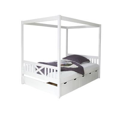 Kinderbetten - TiCAA Himmelbett Lino weiß mit 5 Schubladen  - Onlineshop Babymarkt