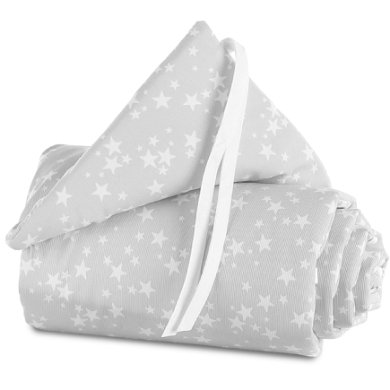 babybay Nest Piqué Boxspring XXL parelgrijs sterren wit