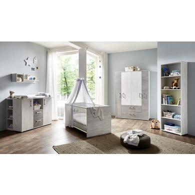 Babyzimmer - arthur berndt Kinderzimmer Insa 4 türig mit Umbauseiten grau Gr.70x140 cm  - Onlineshop Babymarkt