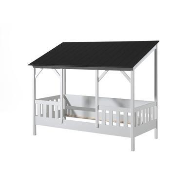 Kinderbetten - VIPACK Hausbett 90 x 200 cm mit schwarzem Dach weiß  - Onlineshop Babymarkt