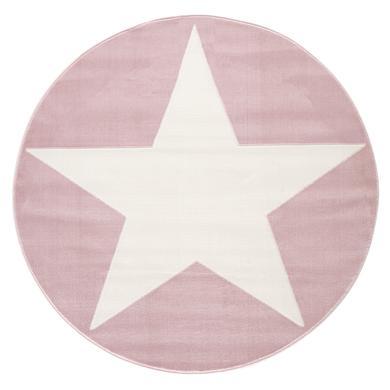 LIVONE Barnmatta Happy Rugs Shootingstar rosa/vit rund, 160 cm