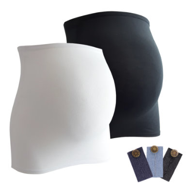 Image of mamaband Belly band 2-pack + estensione pantaloni 3-pack nero/bianco