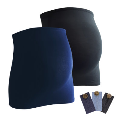 Image of mamaband belly band 2-pack + estensione pantalone 3-pack nero/blu scuro