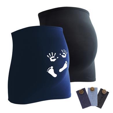 mamaband Bauchband 2er-Pack Händchen und Füßchen + 3er Pack Hosenerweiterung schwarz