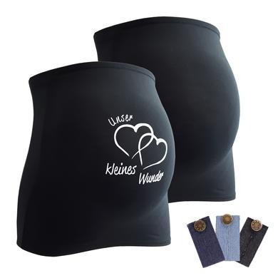 Image of mamaband Bauchband 2er-Pack Unser kleines Wunder + 3er Pack Hosenerweiterung schwarz