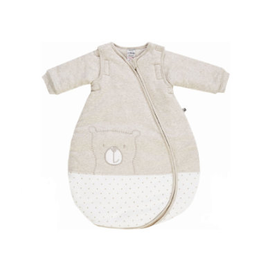 Jacky Hello World Spací pytel vycpaný béžovou melanží s odnímatelnými rukávy - béžová - Gr.Novorozenci (0 - 6 měsíců)