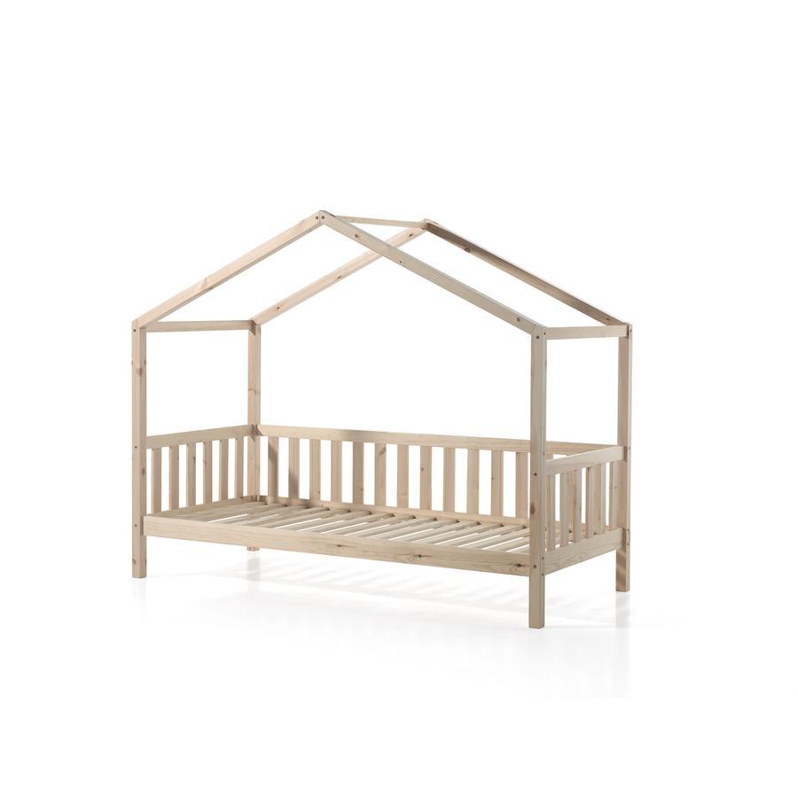 Kinderbetten - VIPACK Hausbett Dallas 1 90 x 200 cm natur mit seitlicher Umrandung  - Onlineshop Babymarkt