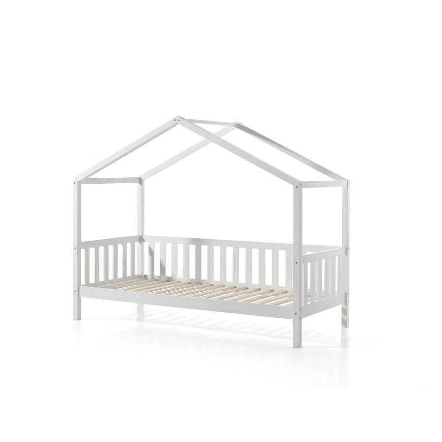 Kinderbetten - VIPACK Hausbett Dallas 1 90 x 200 cm weiß mit seitlicher Umrandung  - Onlineshop Babymarkt