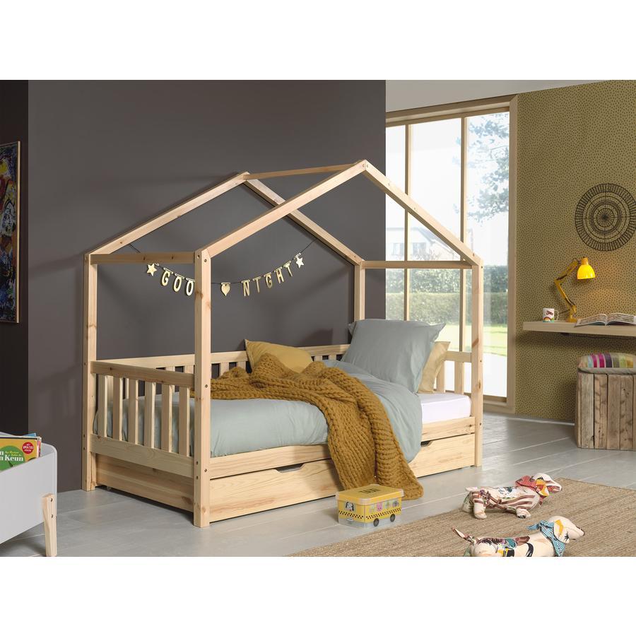 Kinderbetten - VIPACK Hausbett Dallas 1 90 x 200 cm natur mit seitlicher Umrandung und Bettschublade  - Onlineshop Babymarkt