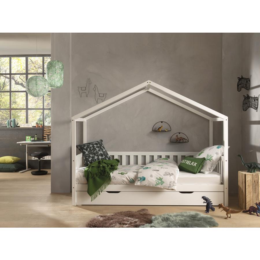 Kinderbetten - VIPACK Hausbett Dallas 1 90 x 200 cm weiß mit seitlicher Umrandung und Bettschublade  - Onlineshop Babymarkt