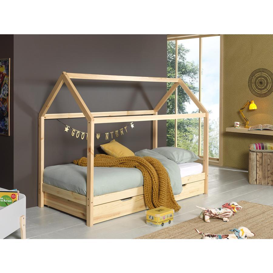 Kinderbetten - VIPACK Hausbett Dallas 2 90 x 200 cm natur mit Bettschublade  - Onlineshop Babymarkt
