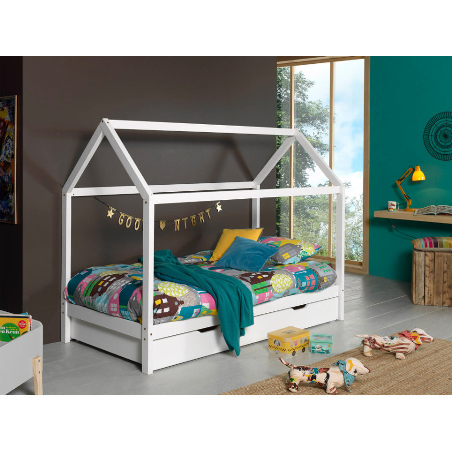 Kinderbetten - VIPACK Hausbett Dallas 2 90 x 200 cm weiß mit Bettschublade  - Onlineshop Babymarkt