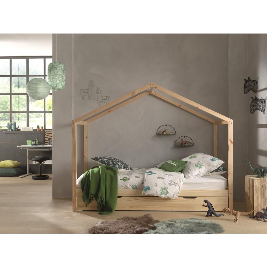 Kinderbetten - VIPACK Hausbett Dallas 3 90 x 200 cm natur mit Bettschublade  - Onlineshop Babymarkt