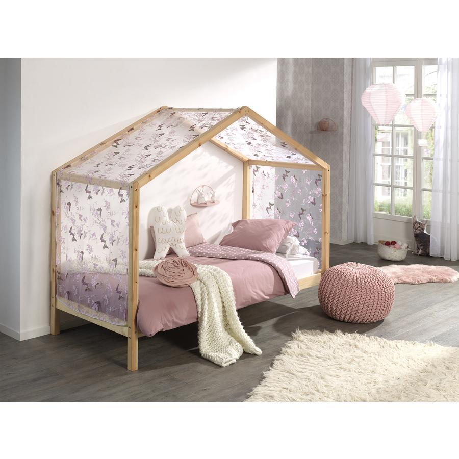 Kinderbetten - VIPACK Hausbett Dallas 3 90 x 200 cm natur mit Textilhimmel  - Onlineshop Babymarkt