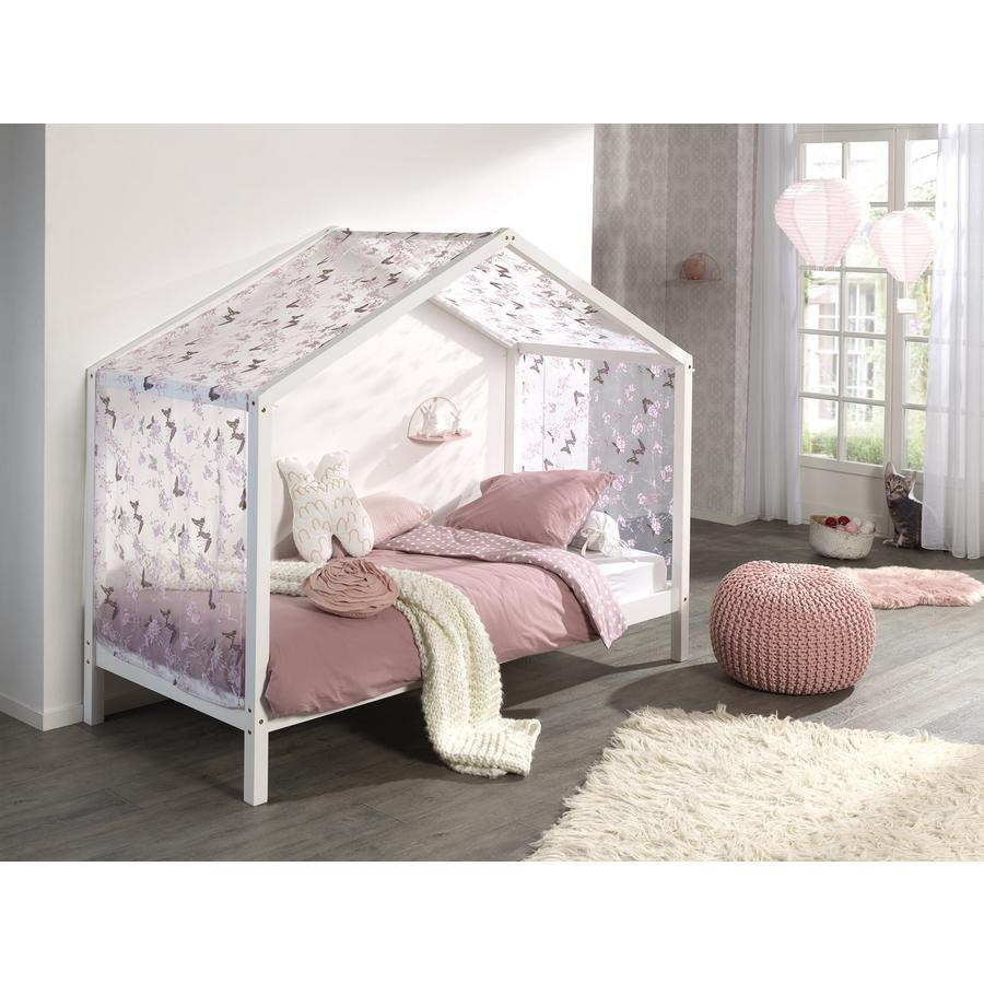 Kinderbetten - VIPACK Hausbett Dallas 3 90 x 200 cm weiß mit Textilhimmel  - Onlineshop Babymarkt