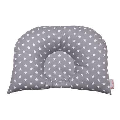 Image of BabyDorm® Kinderwagenkissen BuggyDorm Jonna grau mit weißen Sternen
