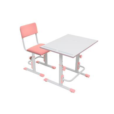 POLINI Dětský školní set - stůl a židle, bílá / růžová