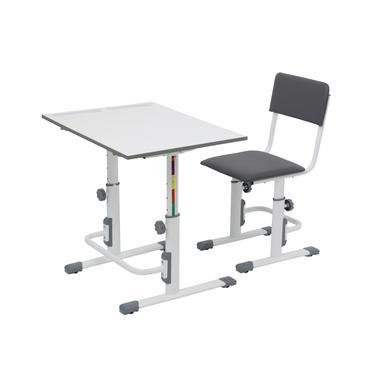 Kindertische - POLINI Kids Schul Set Schreibtisch und Stuhl, weiß grau  - Onlineshop Babymarkt