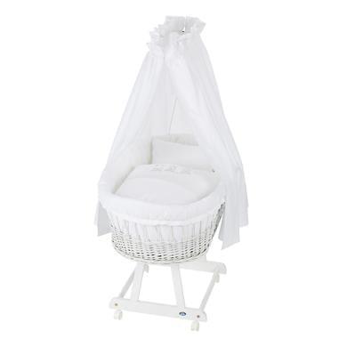 Stubenwagen und Wiegen - Alvi® Komplettstubenwagen Birthe weiß, Bär auf Schaukel  - Onlineshop Babymarkt