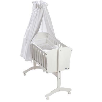Stubenwagen und Wiegen - Alvi® Komplettpendelwiege Pia weiß Bär auf Schaukel  - Onlineshop Babymarkt