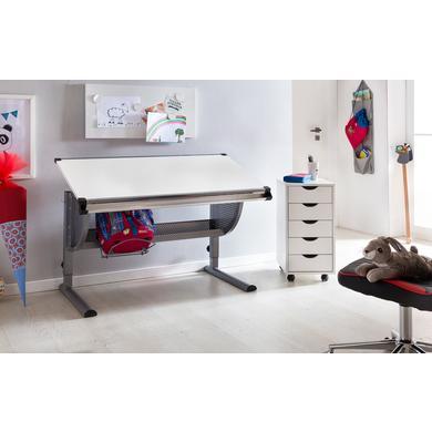 Kindertische - Wohnling ® Design Kinderschreibtisch Maxi, 120 x 60 cm grau weiß  - Onlineshop Babymarkt