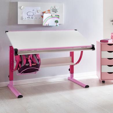 Kindertische - Wohnling ® Design Kinderschreibtisch Moritz, 120 x 60 cm rosa weiß rosa pink  - Onlineshop Babymarkt