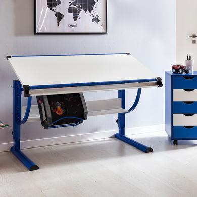 Kindertische - Wohnling ® Design Kinderschreibtisch Moritz, 120 x 60 cm blau weiß  - Onlineshop Babymarkt