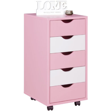 Wohnling ® Role kontejner Mina, růžová / bílá