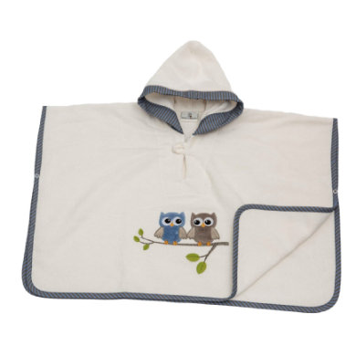 Image of Be Be 's Collection Poncho mit Kapuze Eulen blau
