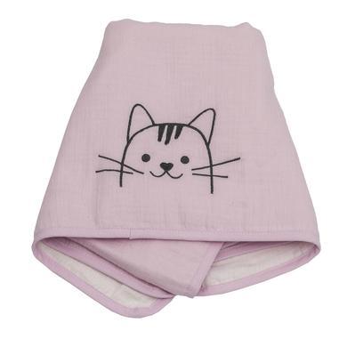 Be Be's Collection Muslin přikrývka kočka růžová 70 x 100 cm