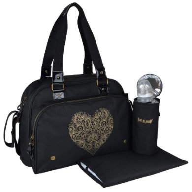 Image of BABY ON BOARD Wickeltasche Premium Tattoo & Liebe Schwarz