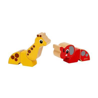 BRIO® Jouet magnétique girafe et éléphant bois 30284