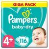 Pampers Baby-Dry Größe 4+, 116 Windeln, bis zu 12Stunden Rundumschutz, 10-15kg