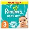 Pampers Baby-Dry rozmiar 3, 128 pieluszek, do 12 godzin ochrony dookoła, 6-10 kg