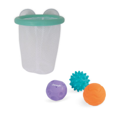 Janod ® Bath toy Basket basket basket with struktur ball