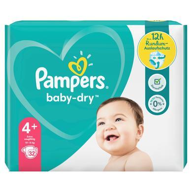 Image of Pampers Luiers Baby Dry Maat 4+ Maxi plus 32 Luiers 10 tot 15 kg Voordeelpak