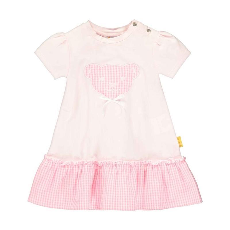 Artikel klicken und genauer betrachten! - Exklusive Kindermode von Steiff! Für Kinder ist nur das Beste gut genug - auch in der Kindermode findet sich die Steiff-Philosophie wieder. Die anspruchsvolle Outfit-Kollektion mit klassischem Design und schmeichelnden Farbstellungen. Das kurzärmlige Kleid verbindet die Flexibilität weichen Jerseys und mit dem luftigen Tragegefühl leichter Baumwolle. Druckknöpfchen auf der Schulter helfen beim Anziehen. | im Online Shop kaufen