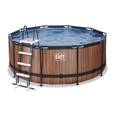 Bazén EXIT Wood ø360x122cm s filtračním čerpadlem Sand , hnědý