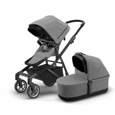 THULE Zuster Sleek kinderwagen met babybadje Grijs Melange aan Black