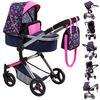 bayer Design Combinatie poppenwagen Vario harten blauw/roze met harten en zeemeermin