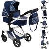 bayer Design Combi dukkevogn Neo Vario blå med hjerter