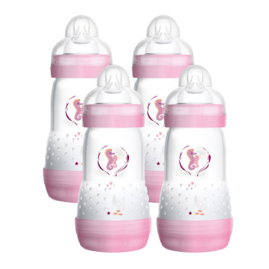 MAM Biberon anti-coliques Easy Start™ 260 ml rose, tétine T.1 lot de 4