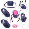 bayer Design Zestaw akcesoriów dla lalek z jednorożcem, niebieski/różowy z jednorożcem