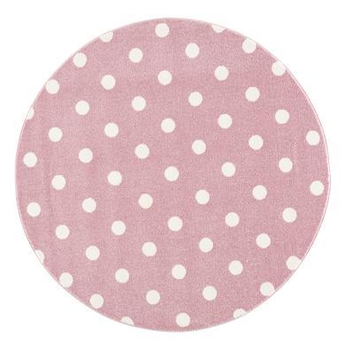 Kindertextilien - LIVONE Kinderteppich Kids love Rugs CIRCLE rosa weiss 100 cm rund  - Onlineshop Babymarkt