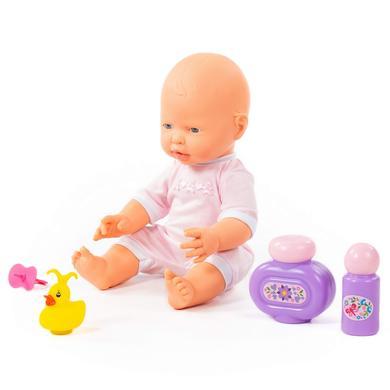 POLESIE® Fröhliche Baby Puppe, 35 cm mit Schnuller und Badeset, 3 Teile